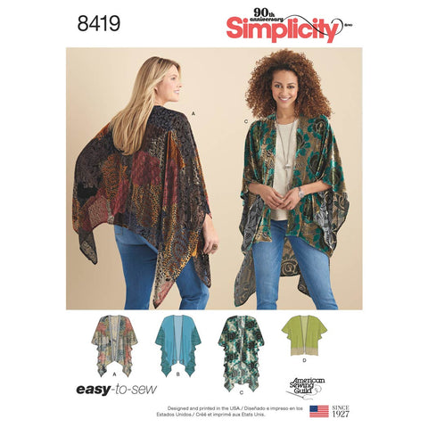 Simplicity Sewing Pattern 8419 - Women's Kimono Style Wrap with Variations