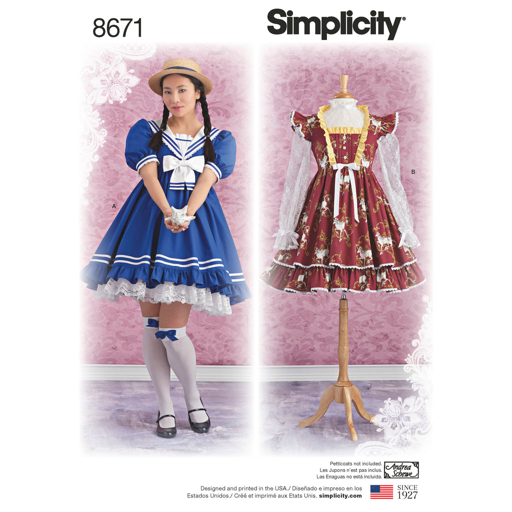 Simplicity Sewing Pattern 8671 - Women's Lolita Costume Dresses