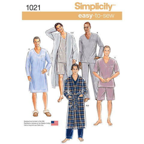 Simplicity Sewing Pattern 1021 - Men's Classic Pyjamas & Robe