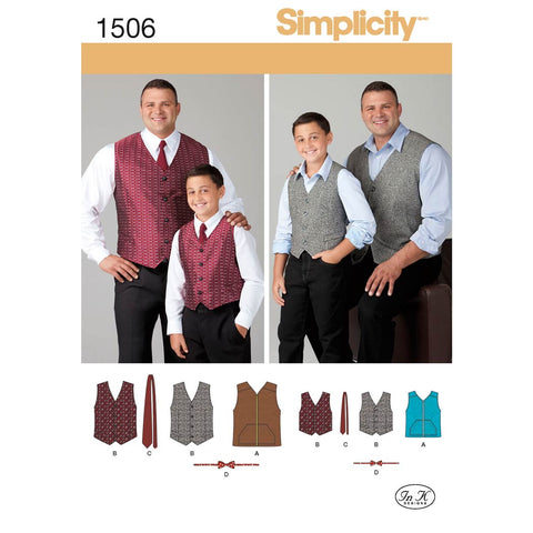 Simplicity Sewing Pattern 1506 - Husky Boys' and Big and Tall Men's Vests