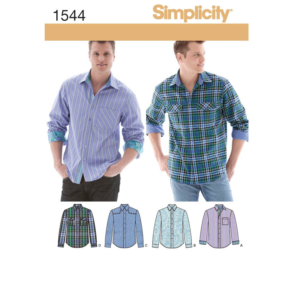 Simplicity Sewing Pattern 1544 - Men's Shirt with Fabric Variations