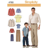 Simplicity Sewing Pattern 4760 - Boys and Men Shirts and Trousers