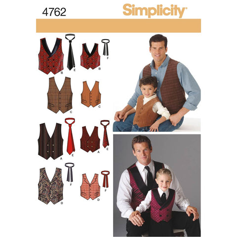 Simplicity Sewing Pattern 4762 - Boys and Men Vests and Ties