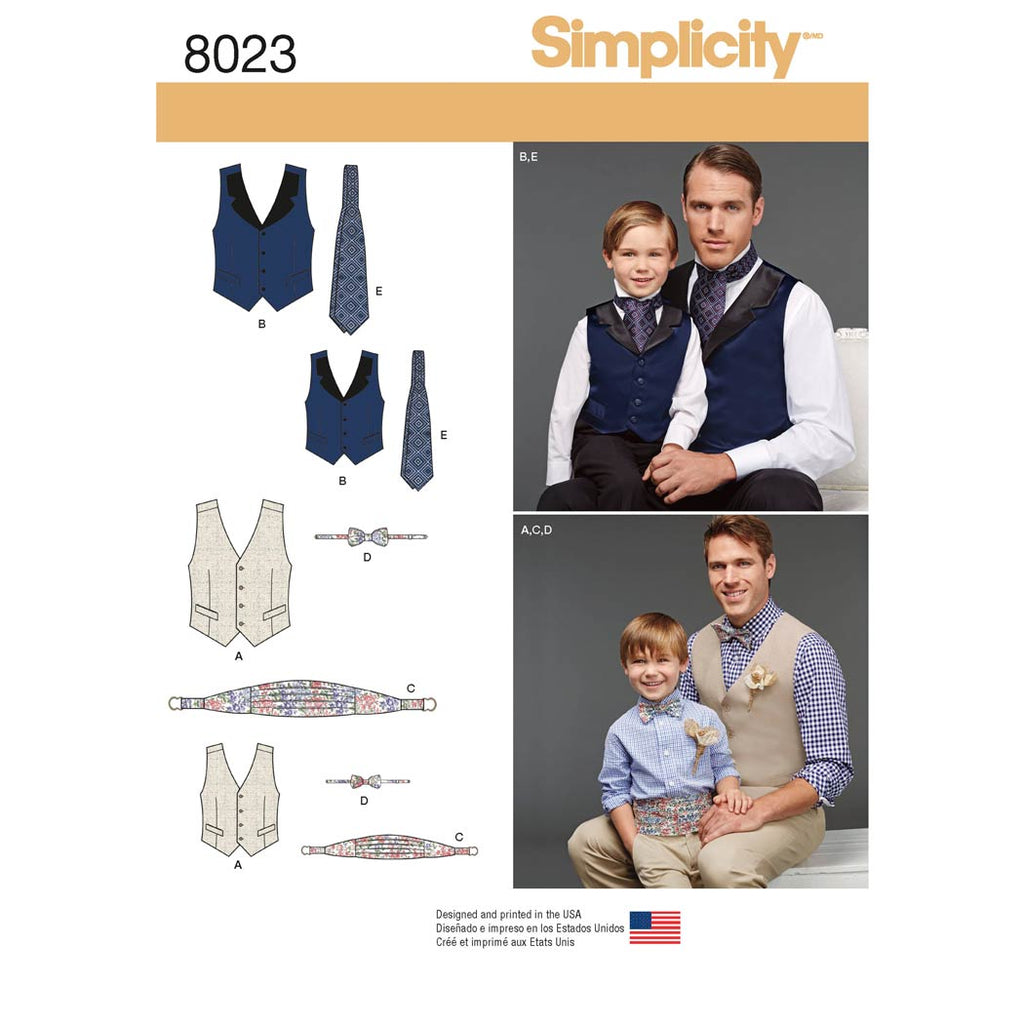 Simplicity Sewing Pattern 8023 - Boys' and Men's Vest, Bow-tie, Cummerbund and Ascot