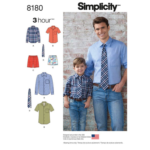 Simplicity Sewing Pattern 8180 - Boys' and Men's Shirt, Boxer Shorts and Tie
