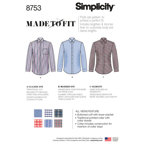 Simplicity Sewing Pattern 8753 - Men's Classic, Modern and Slim Fit Shirt