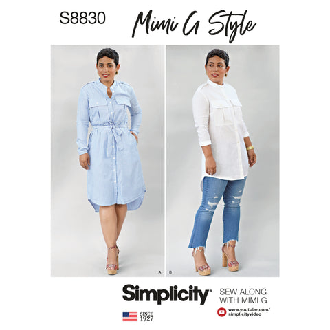Simplicity Sewing Pattern S8830 - Mimi G Misses'/Miss Petite Shirt Dress