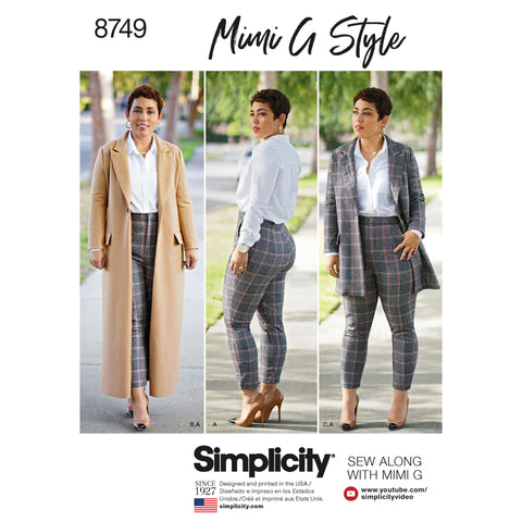 Simplicity Sewing Pattern S8749 - Women's / Plus Size Mimi G Style Coat and Pant