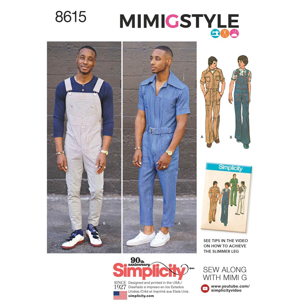 Simplicity Sewing Pattern 8615 - Men's Vintage Jumpsuit and Overalls