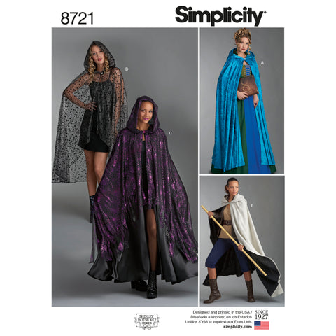 Simplicity Sewing Pattern 8721 - Misses Capes