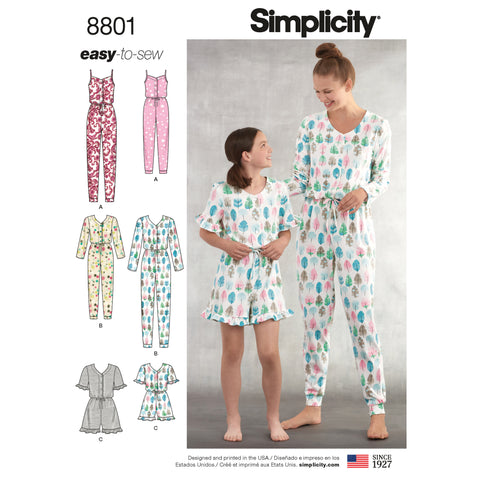 Simplicity Sewing Pattern 8801 - Girls and Misses Knit Jumpsuit Romper