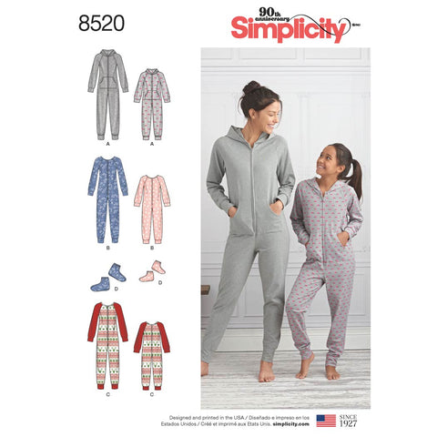 Simplicity Sewing Pattern 8520 - Girls' and Misses' Jumpsuits and Booties
