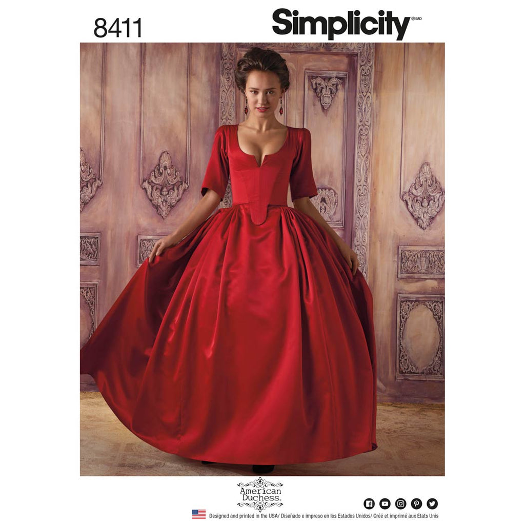 Simplicity Sewing Pattern 8411 - Women's 18th Century Costume