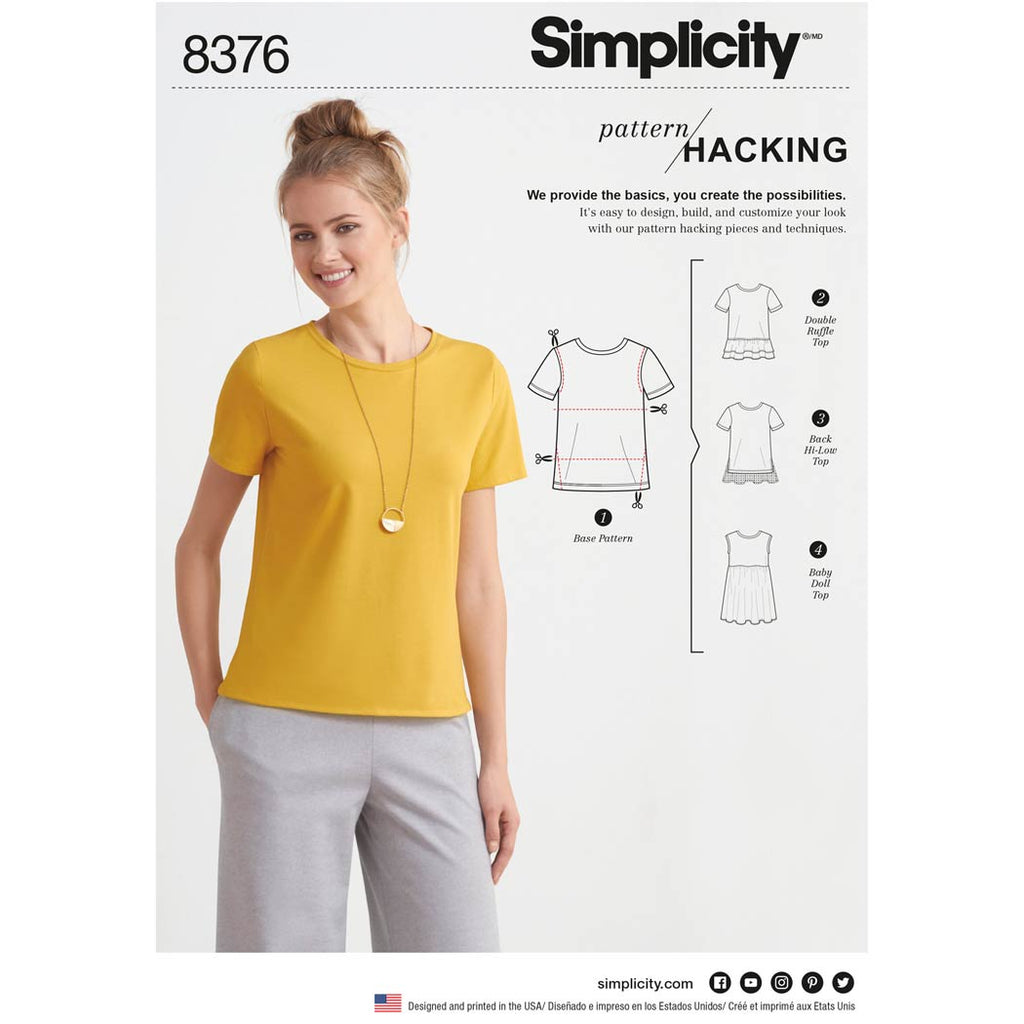 Simplicity Sewing Pattern 8376 - Women's Knit Top with Multiple Pieces for Design Hacking