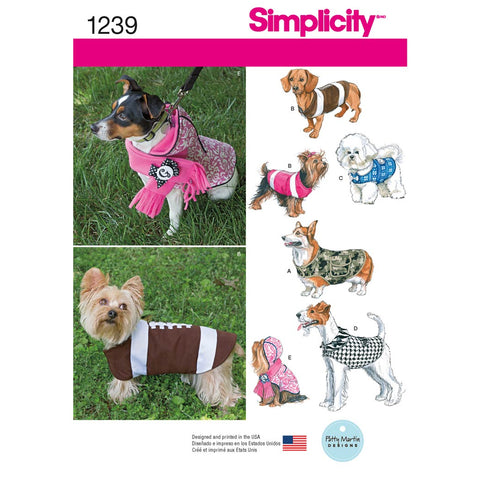 Simplicity Sewing Pattern 1239 - Dog Coats in Three Sizes
