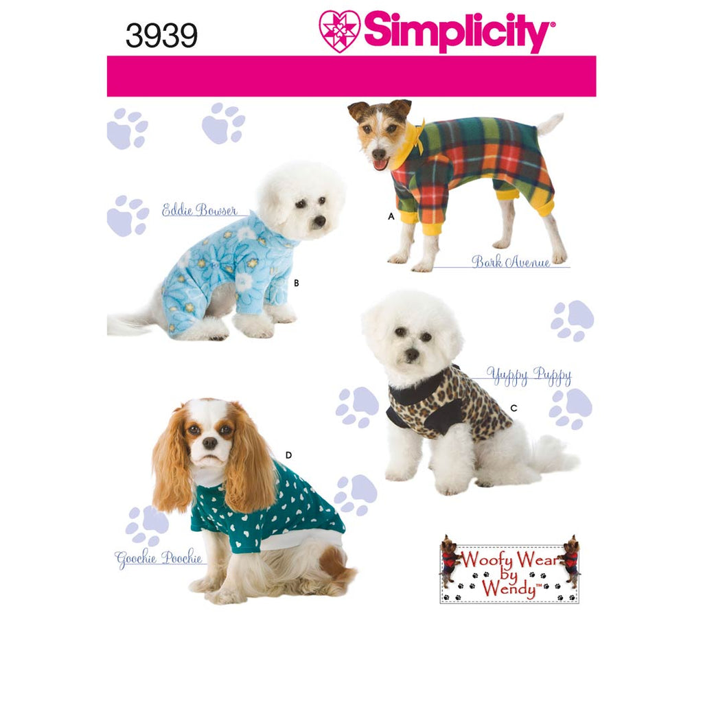 Simplicity Sewing Pattern 3939 - Dog Clothes In Three Sizes