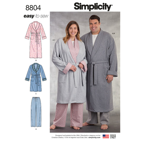 Simplicity Sewing Pattern 8804 - Women's and Men's Robe and Pants