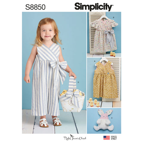 Simplicity Sewing Pattern S8850 - Toddlers' Dress, Jumpsuit, Basket and Toy