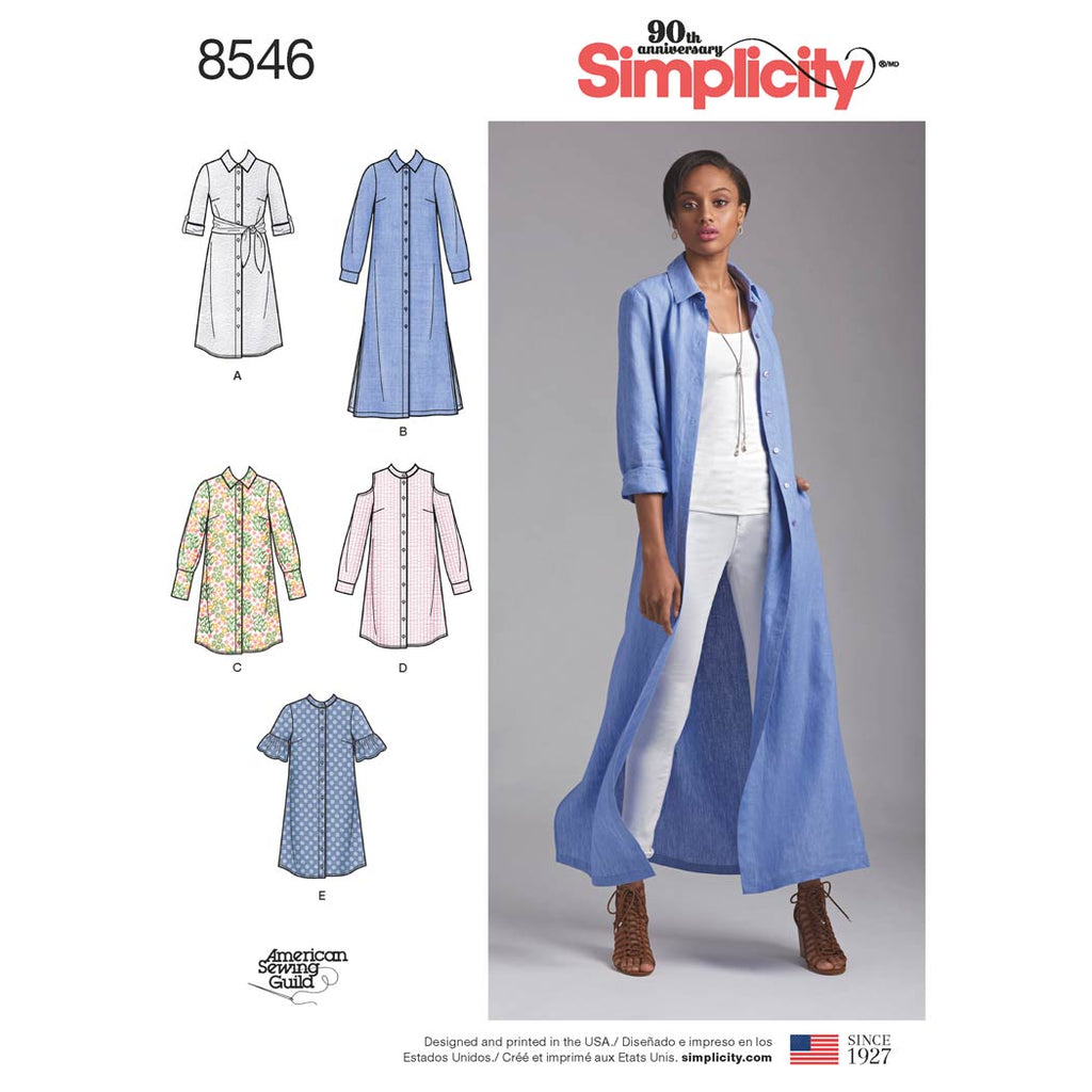 Simplicity Sewing Pattern 8546 - Women's / Petite Women's Shirt Dresses