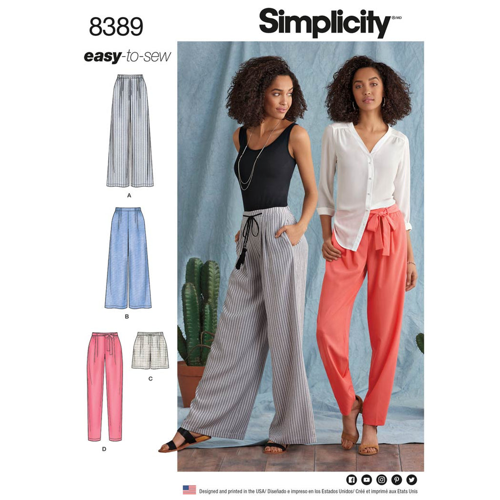 Simplicity Pattern 8389 - Women's Trousers with Length and Width Variations and Tie Belt