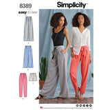 Simplicity Sewing Pattern 8389 - Women's Trousers with Length and Width Variations and Tie Belt