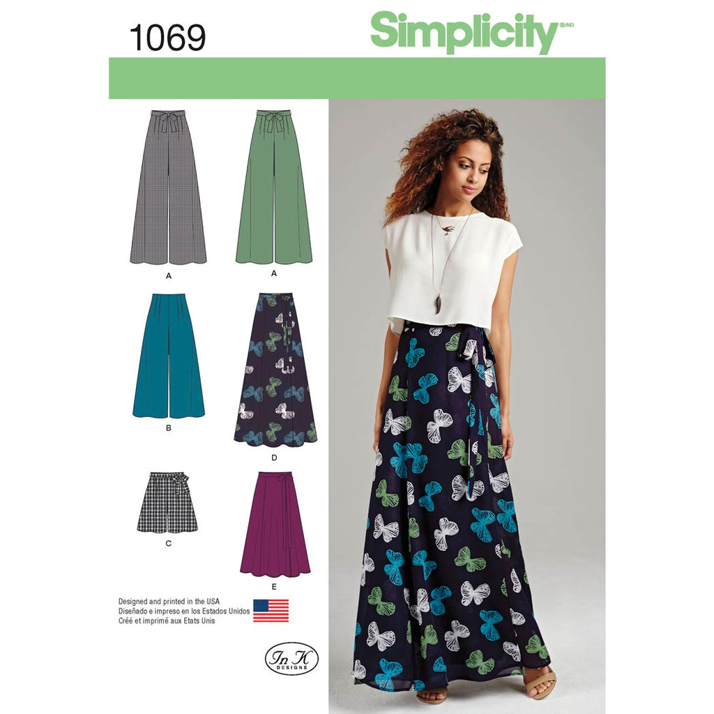 Simplicity Sewing Pattern 1069 - Women's Wide Leg Trousers or Shorts & Skirts in 2 Lengths