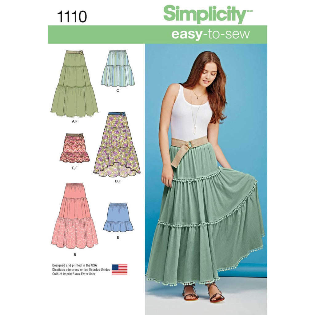 Simplicity Sewing Pattern 1110 - Women's Tiered Skirt with Length Variations