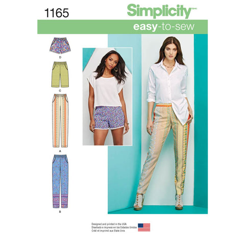 Simplicity Sewing Pattern 1165 - Women's Pull-on Trousers, Long or Short Shorts