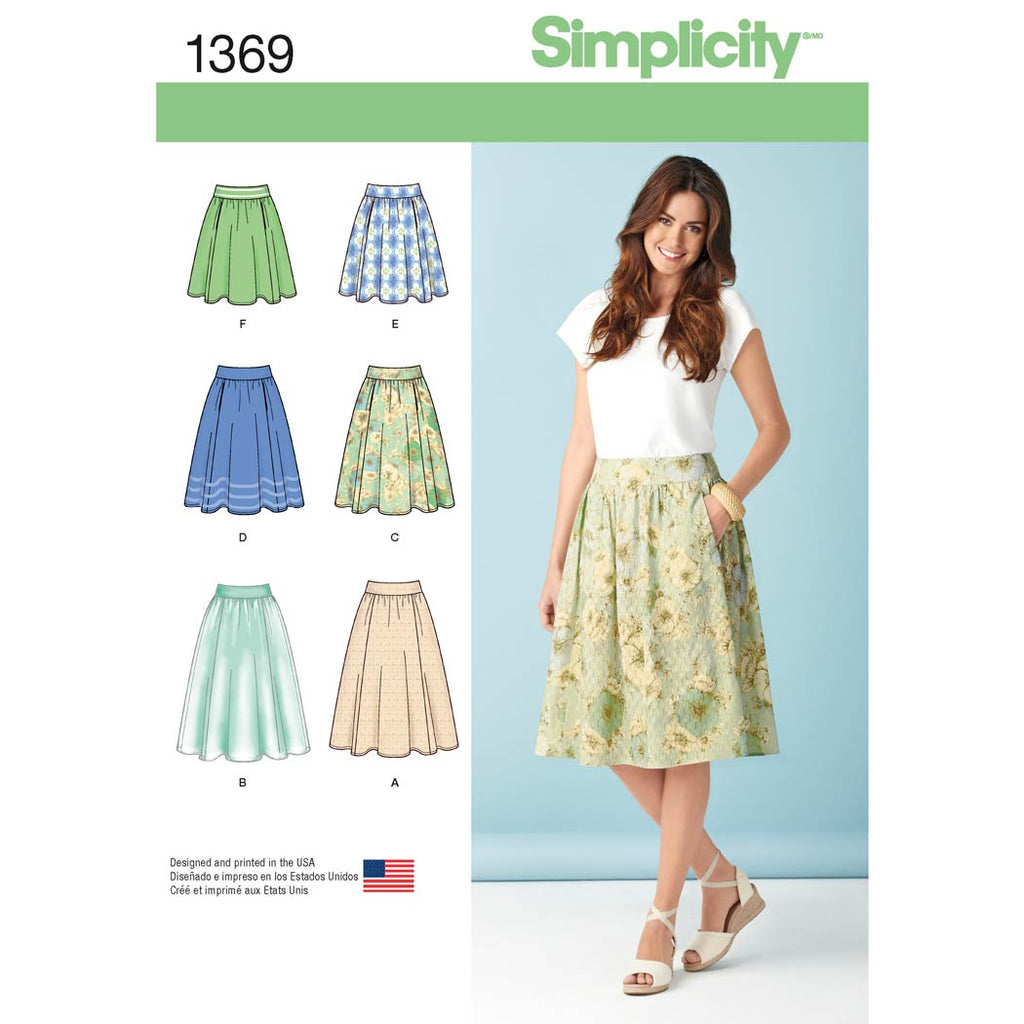 Simplicity Sewing Pattern 1369 - Women's Skirts in Three Lengths