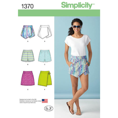 Simplicity Sewing Pattern 1370 - Women's Shorts, Skort and Skirt