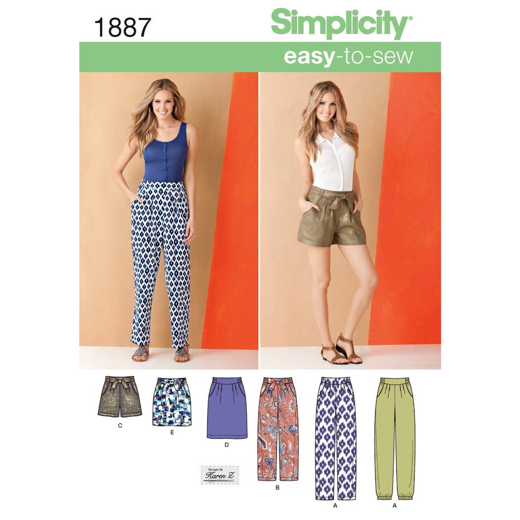 Simplicity Sewing Pattern 1887 - Women's Trousers & Skirts