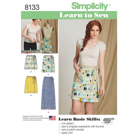 Simplicity Sewing Pattern 8133 - Women's Learn to Sew Wrap Skirts
