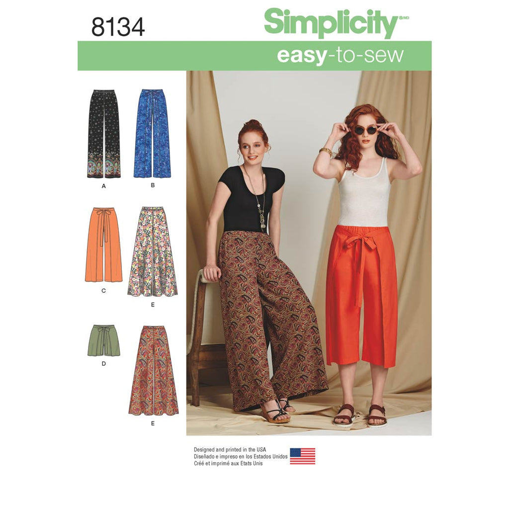 Simplicity Sewing Pattern 8134 - Women's Easy-to-Sew Trousers and Shorts