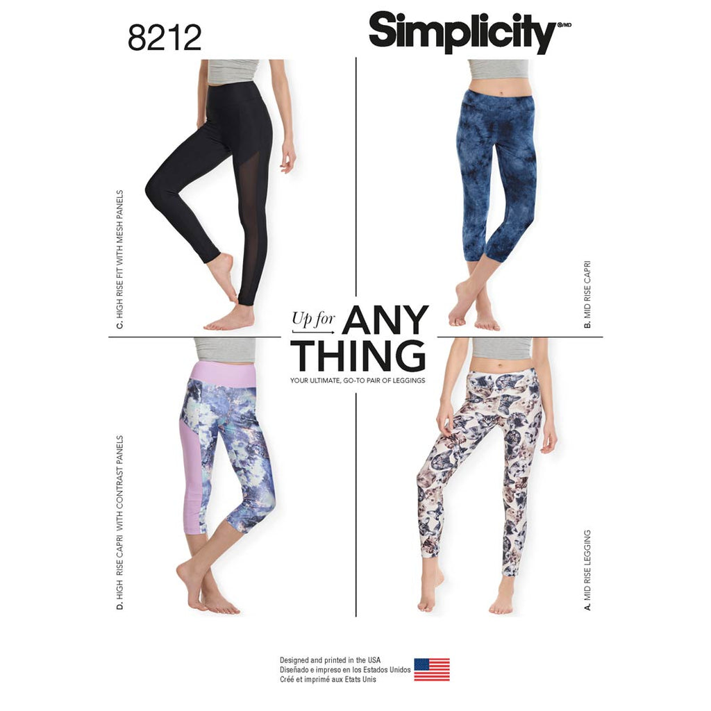 Simplicity Sewing Pattern 8212 - Women's Knit Leggings