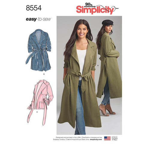 Simplicity Sewing Pattern 8554 - Women's / Petite Women's Coats and Jackets