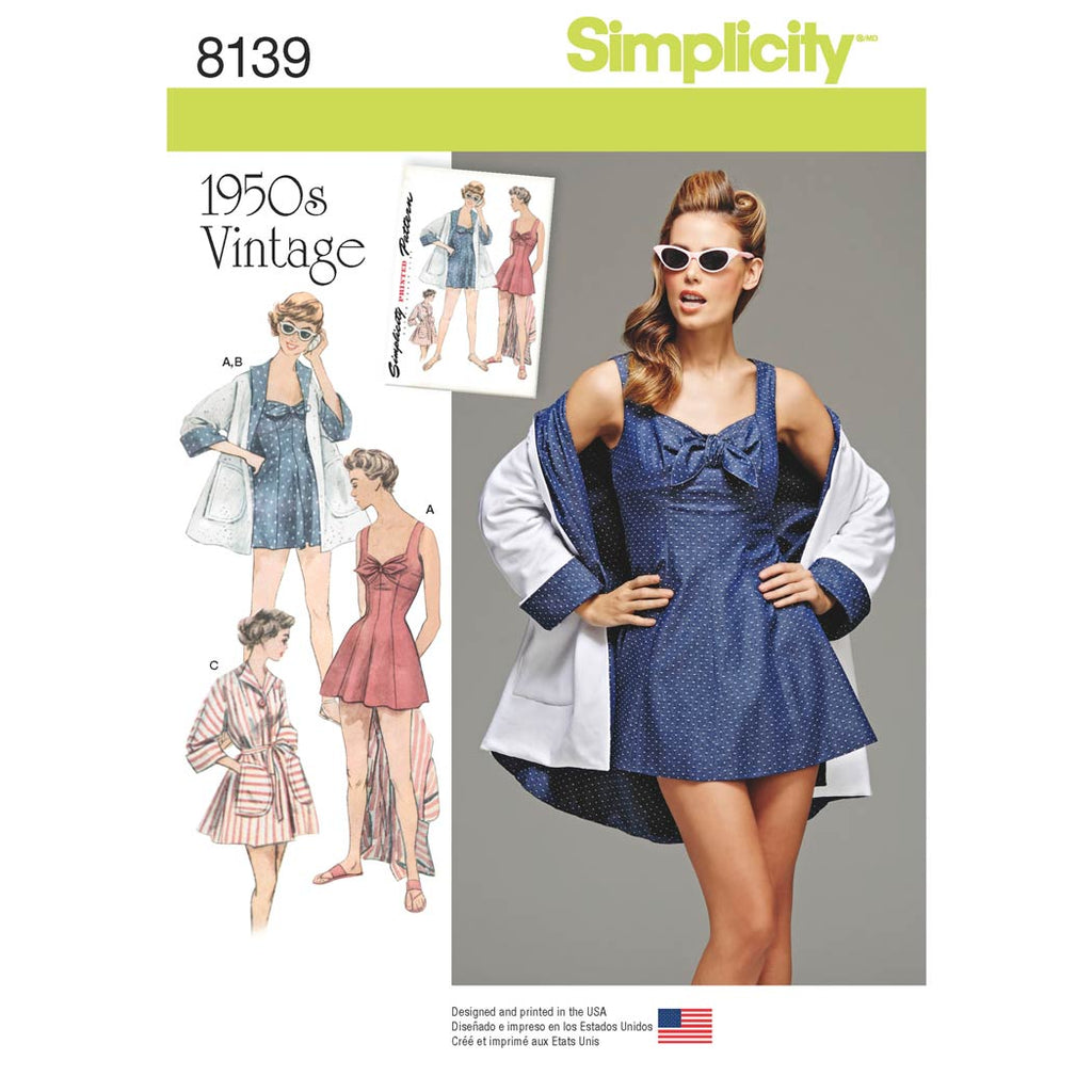Simplicity Sewing Pattern 8139 - Women's Vintage Bathing Dress and Beach Coat