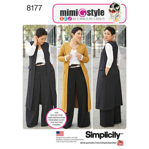 Simplicity Sewing Pattern 8177 - Mimi G Style Trouser, Coat or Vest, and Knit Top for Women's and Plus Sizes