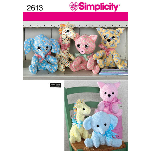 Simplicity Sewing Pattern 2613 - Two Piece Stuffed Animals