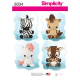 Simplicity Sewing Pattern 8034 - Animal Stuffies