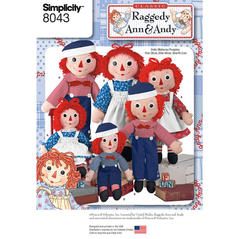 Simplicity Sewing Pattern 8043 - Raggedy Ann & Andy Dolls