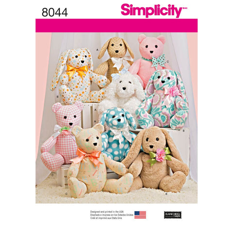 Simplicity Sewing Pattern 8044 - Two-Pattern Piece Stuffed Animals