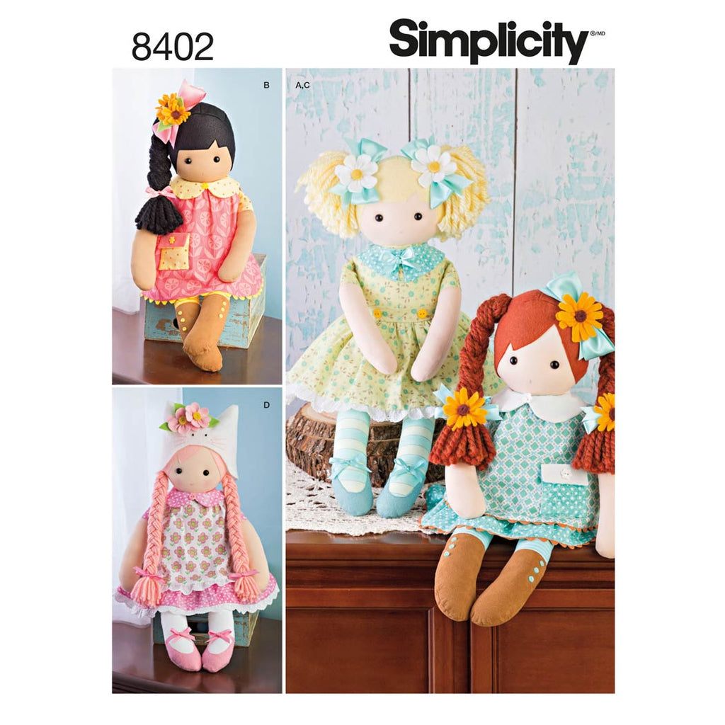 "Simplicity Sewing Pattern 8402 - 23"" Stuffed Dolls With Clothes"