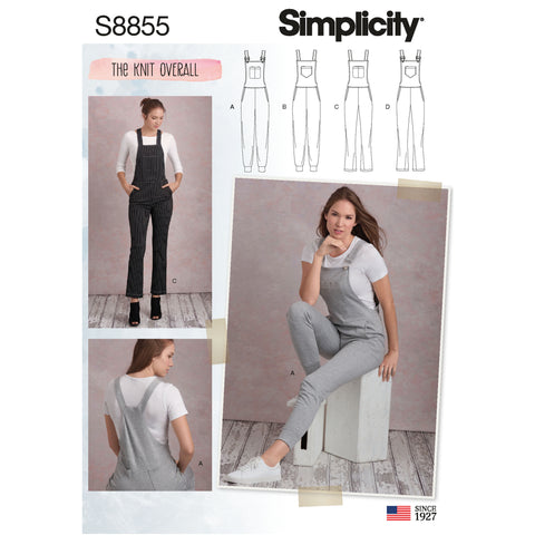 Simplicity Sewing Pattern S8855 - Misses' Knit Overalls
