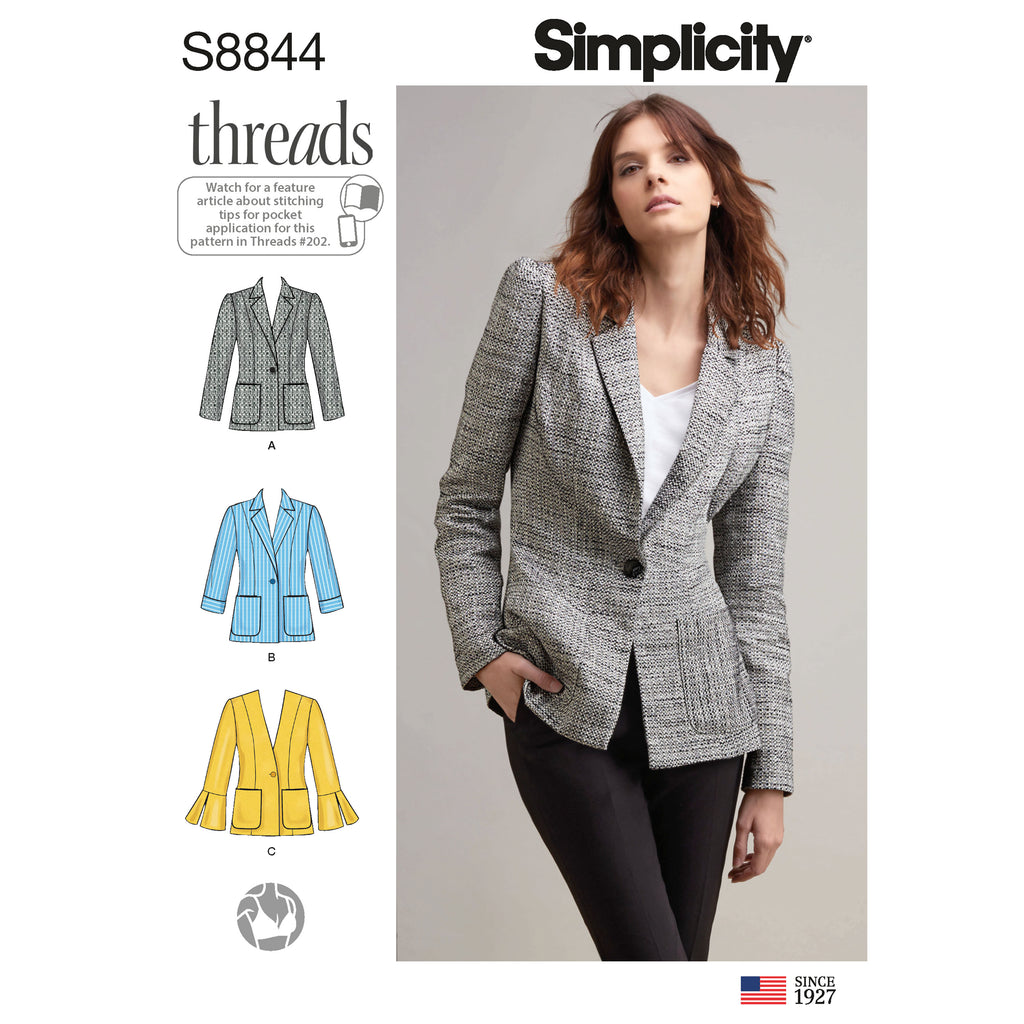 Simplicity Sewing Pattern S8844 - Misses'/ Miss Petite Unlined Blazer