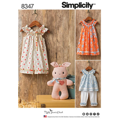 Simplicity Sewing Pattern 8347 - Toddlers' Dress, Top and Knit Capris, and Stuffed Bunny