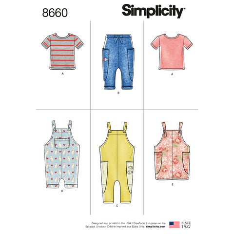 Simplicity Sewing Pattern 8660 - Toddlers' Knit Top, Trousers, Jumper and Overalls