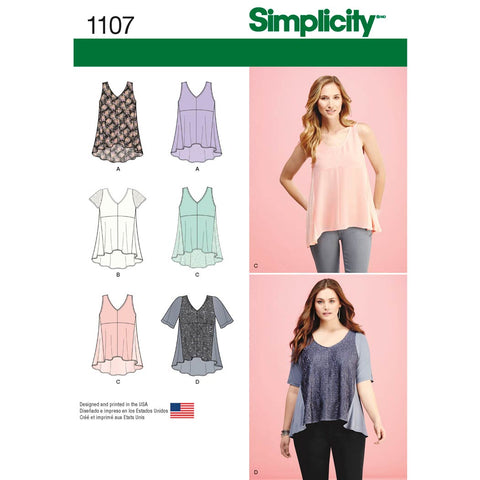 Simplicity Sewing Pattern 1107 - Women's Tops with Fabric Variations