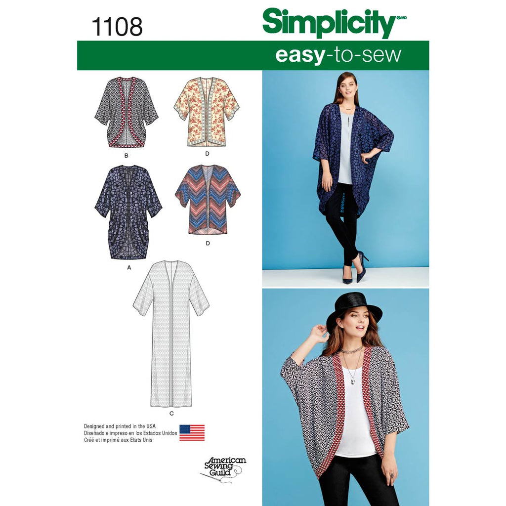 Simplicity Sewing Pattern 1108 - Women's Kimono's in Different Styles