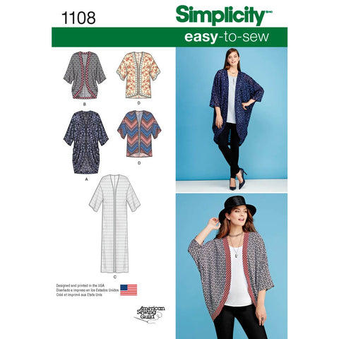 Simplicity Pattern 1108 - Women's Kimono's in Different Styles