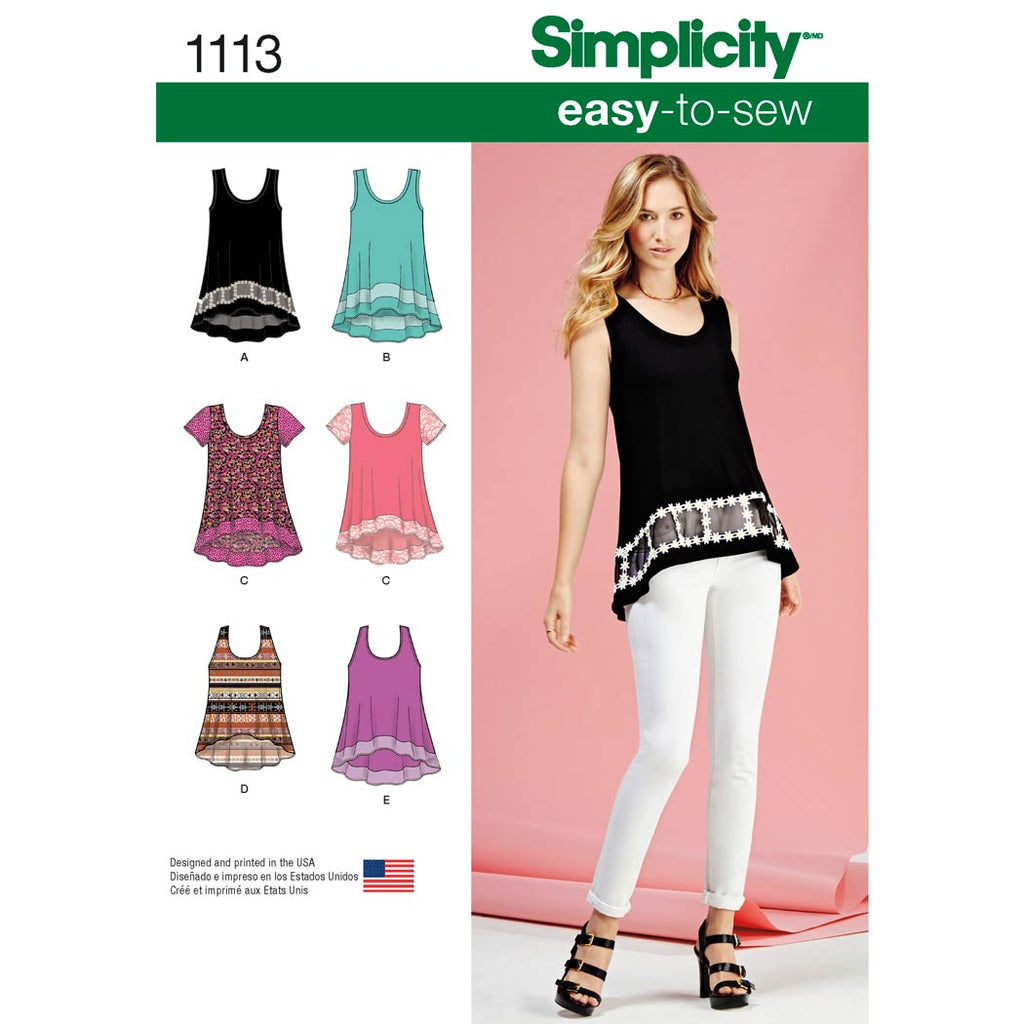 Simplicity Pattern 1113 - Women's Easy-To-Sew Knit Tops
